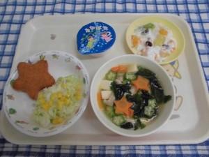 【七夕献立】 コッペパン・お星さまコロッケ・星の子スープ・添え野菜・たなばたゼリー ≪おやつ≫ ヨーグルトあえ
